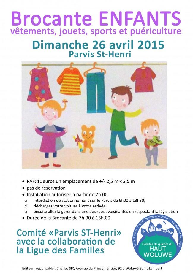 Affiche Brocante parvis Saint Henri 1200 charles six avril 2015